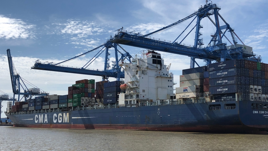 A container ship at the port of New Orleans. China is the US' largest trading partner — the US imported $540 billion worth of goods from China last year.
