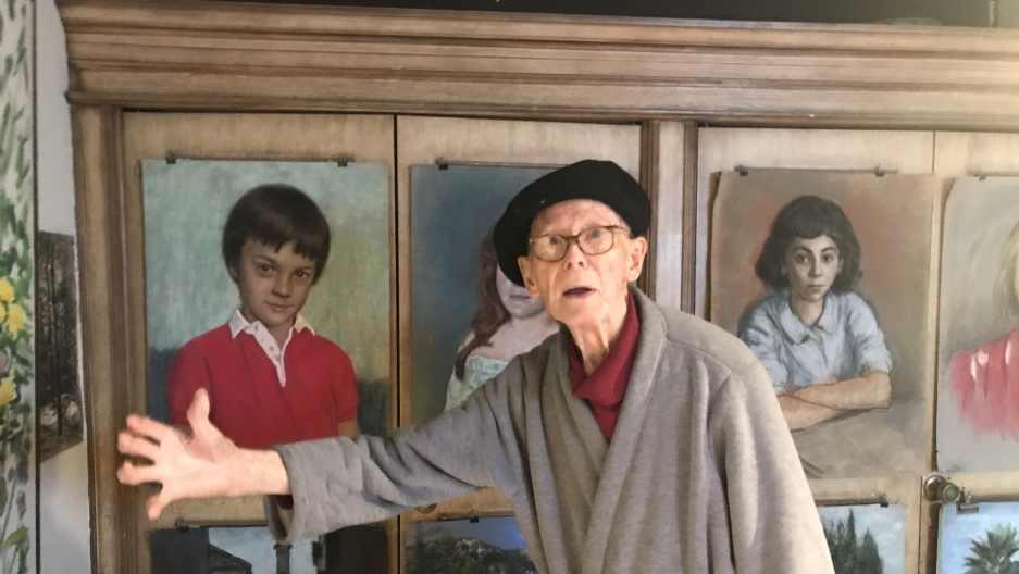 "Kalman Aron began sketching when he was 3 years old. He's now 93, and says if he didn't still paint and draw every day he would ""die of boredom."""