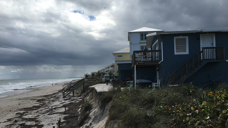 Houses in this Florida neighborhood are perched at the edge of a rapidly-eroding part of the town of Satellite Beach. The town is one of the few in the state that's investing in a major plan to shore itself up against the rising seas and stronger storms b