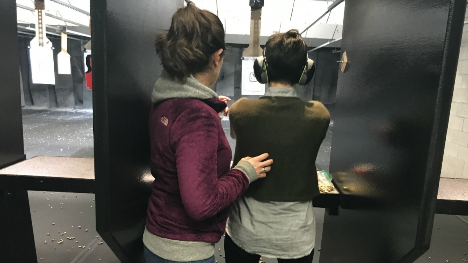 Lydia and her sister at Mass Firearms School, in Holliston, Massachusetts
