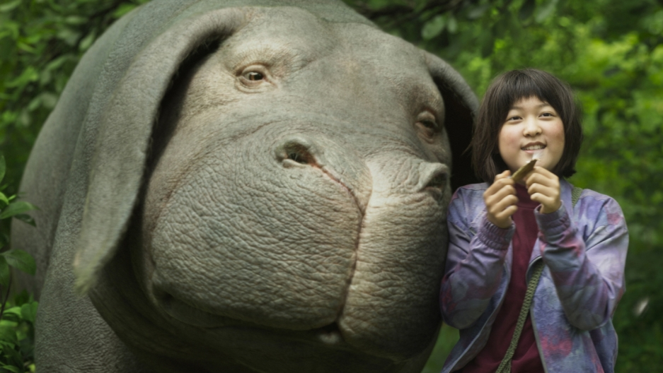 "A scene from the movie ""Okja,"" featuring the title creature — a humongous pet pig."
