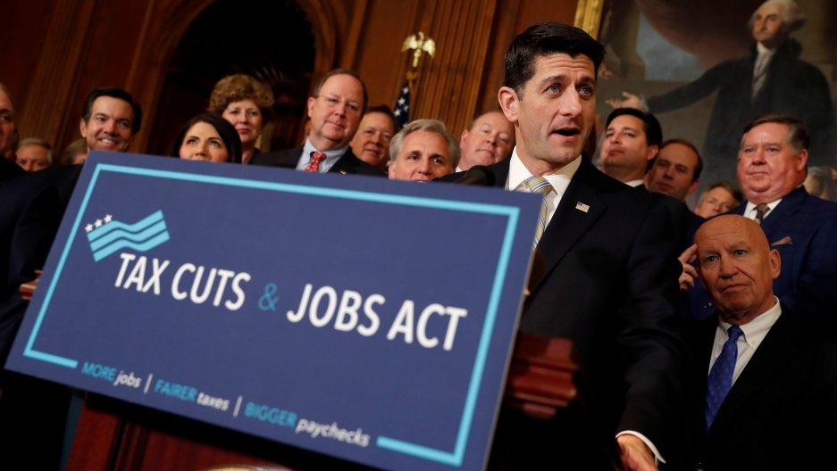 """Speaker of the House Paul Ryan speaks at news conference announcing the passage of the """"Tax Cuts and Jobs Act"""" at the U.S. Capitol in Washington, U.S., November 16, 2017"""