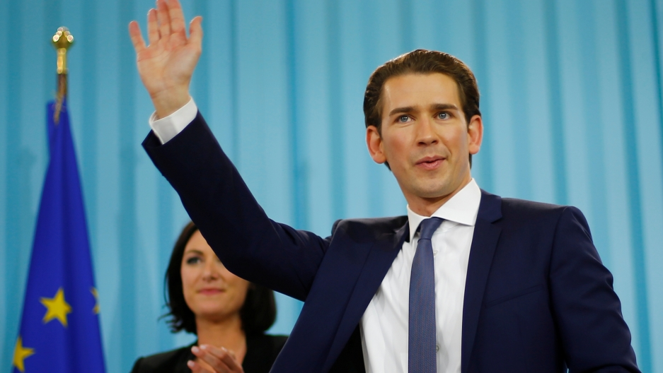 Top candidate of the People's Party (OeVP) Sebastian Kurz attends his party's victory celebration meeting in Vienna, Austria, Oct. 15, 2017.