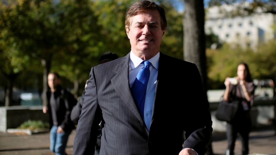 Former Trump 2016 campaign chairman Paul Manafort leaves U.S. Federal Court, after being arraigned on twelve federal charges