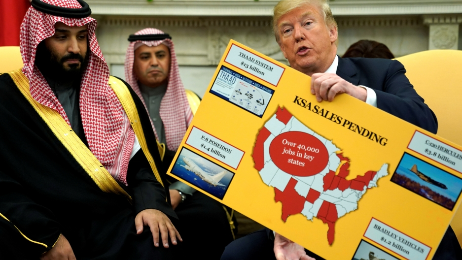 President Donald Trump holds a chart of military hardware sales as he welcomes Saudi Arabia's Crown Prince Mohammed bin Salman in the Oval Office at the White House in Washington, U.S. March 20, 2018.