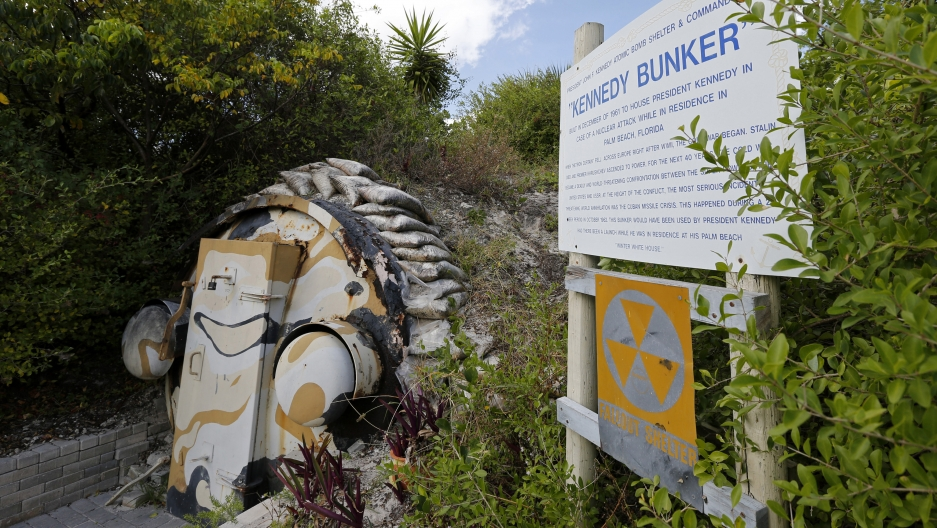 A nuclear shelter constructed for President John F. Kennedy near Riviera Beach, Florida. Note the fallout shelter sign.