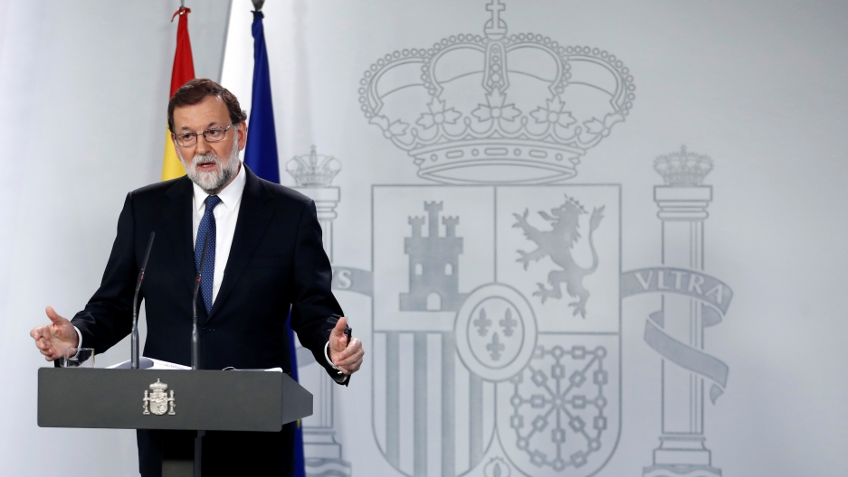 Spain's Prime Minister Mariano Rajoy speaks during a press conference in Madrid