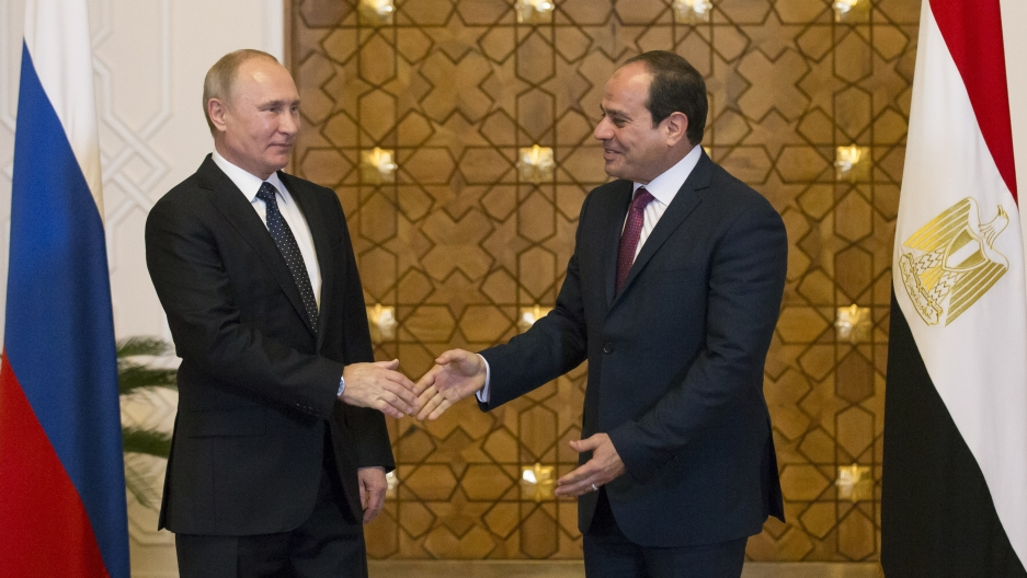 Russia's President Vladimir Putin meets his new friend, Egypt's President, Abdel Fattah al-Sisi, in Cairo on Monday