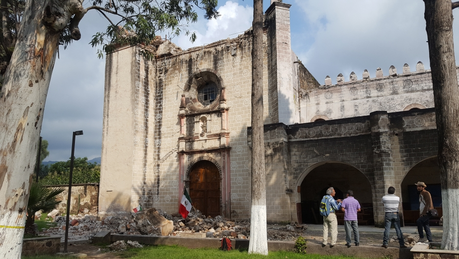 The exterior of the Ex-Convent of San Guillermo Abad, in Totolapan, Morelos state, Mexico. Behind the main facade, the chapel's roof collapsed over the main altar in the Sept. 19 earthquake.