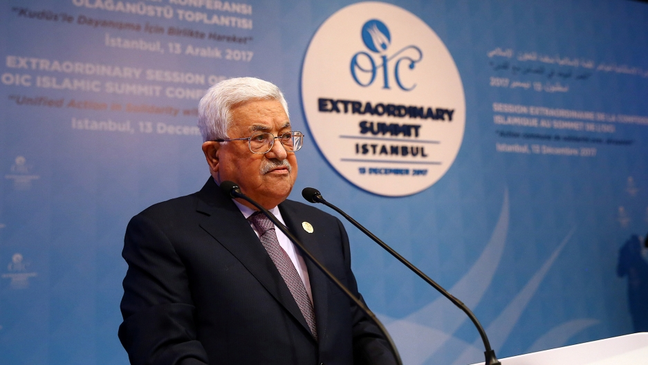 Palestinian President Mahmoud Abbas speaks during a meeting of the Organization of Islamic Cooperation in Istanbul, Turkey, Dec. 13, 2017.