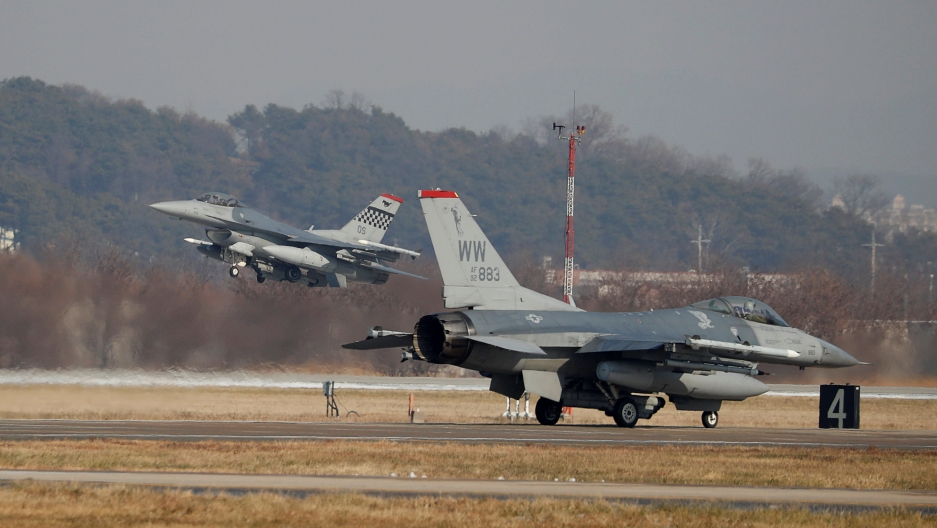 "US Air Force F-16 fighter jets take part in a joint aerial drill exercise called ""Vigilant Ace"" between the US and South Korea"