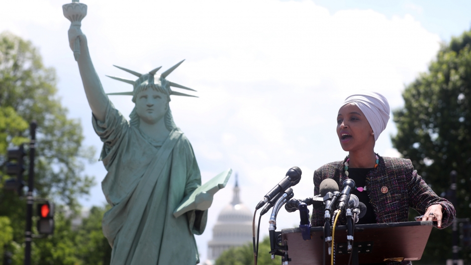 US Representative Ilhan Omar addresses a small rally on immigration rights at the temporary installation of a replica of the Statue of Liberty at Union Station in Washington, US May 16, 2019.