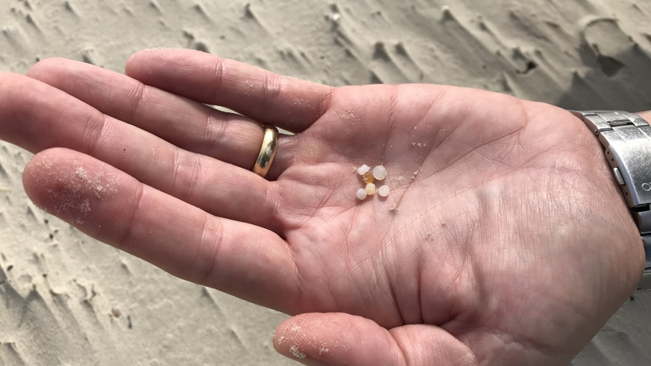 A hand holds small micro-plastics.
