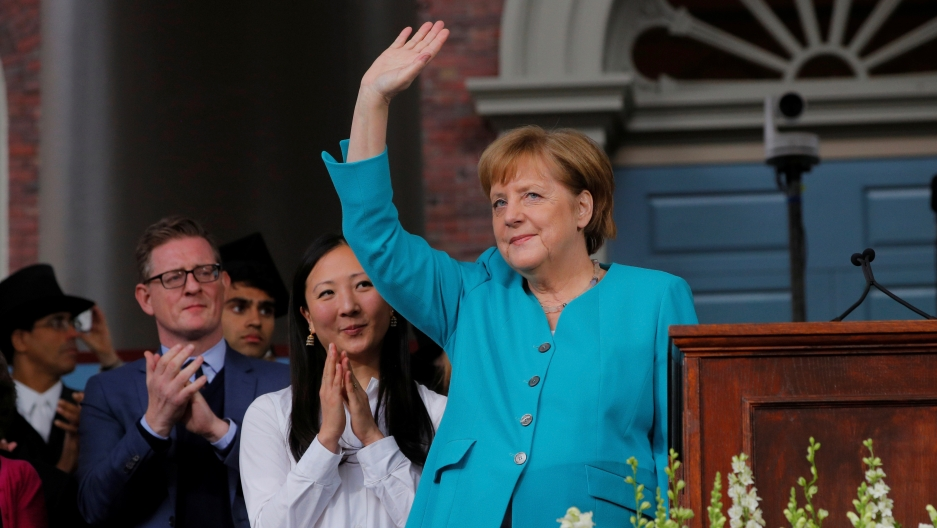 """Tear down the walls of ignorance and narrow-mindedness,"" German Chancellor Angela Merkel told graduates at the 368th commencement ceremony at Harvard University in Cambridge, Massachusetts, May 30, 2019."