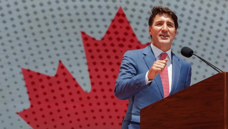 Canada Prime Minister Justin Trudeau at a podium