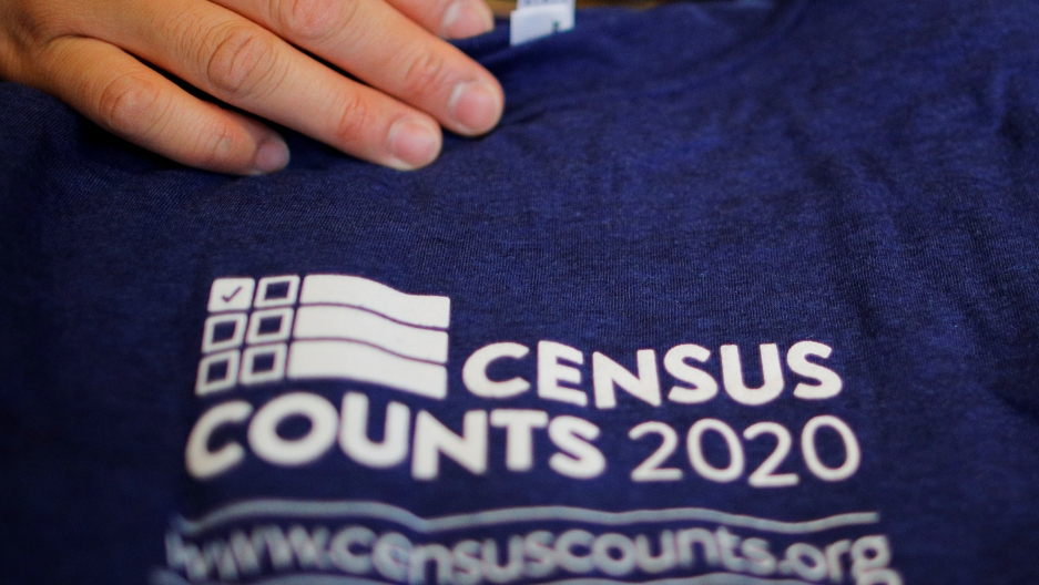 "A shirt with the words ""Census counts 2020."""