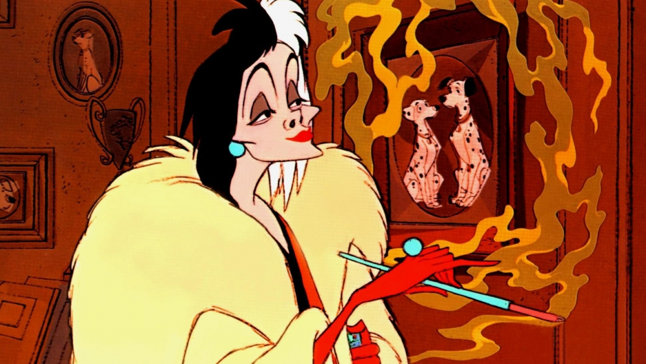 "Cruella de Vil in the original Disney film ""One Hundred and One Dalmatians."""