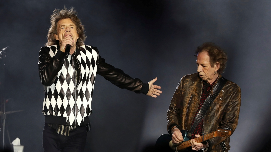 "Mick Jagger, left, and guitarist Keith Richards perform during the kick-off show of the Rolling Stones' ""No Filter"" tour at Soldier Field in Chicago, Illinois, U.S. June 21, 2019."