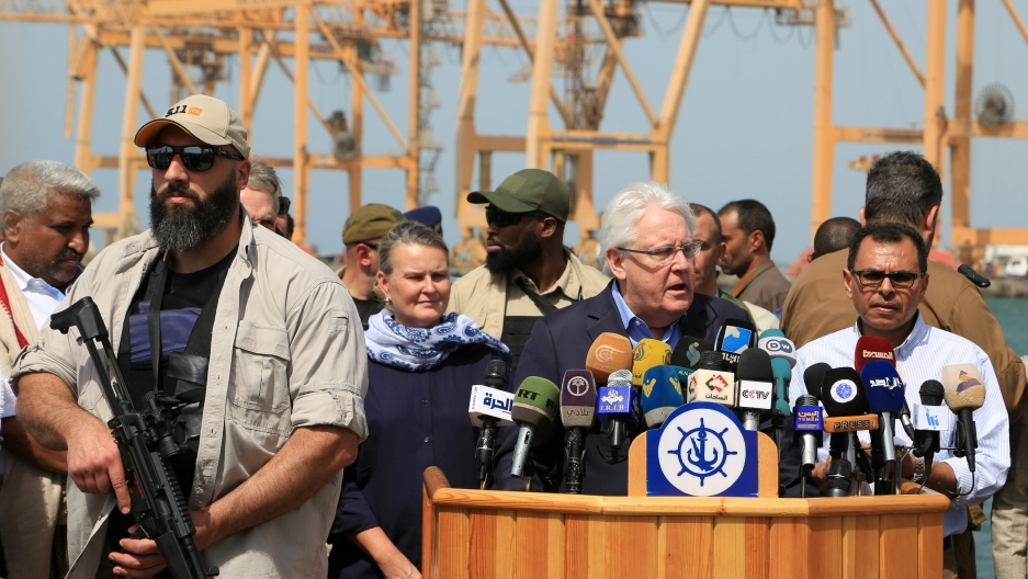 UN envoy to Yemen Martin Griffiths at the Red Sea port of Hodeidah, Yemen