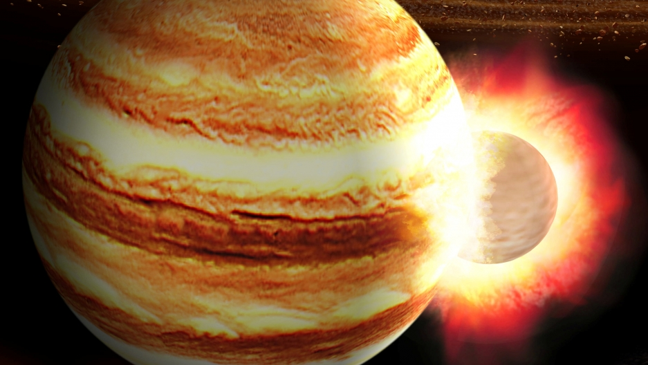 An illustration of a protoplanet crashing into Jupiter