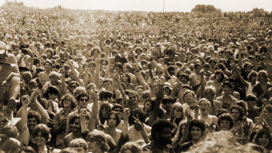 The Woodstock crowd, 1969.