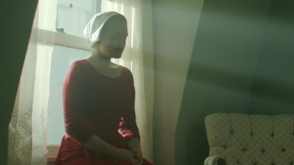 "Elizabeth Moss in ""The Handmaid's Tale."""