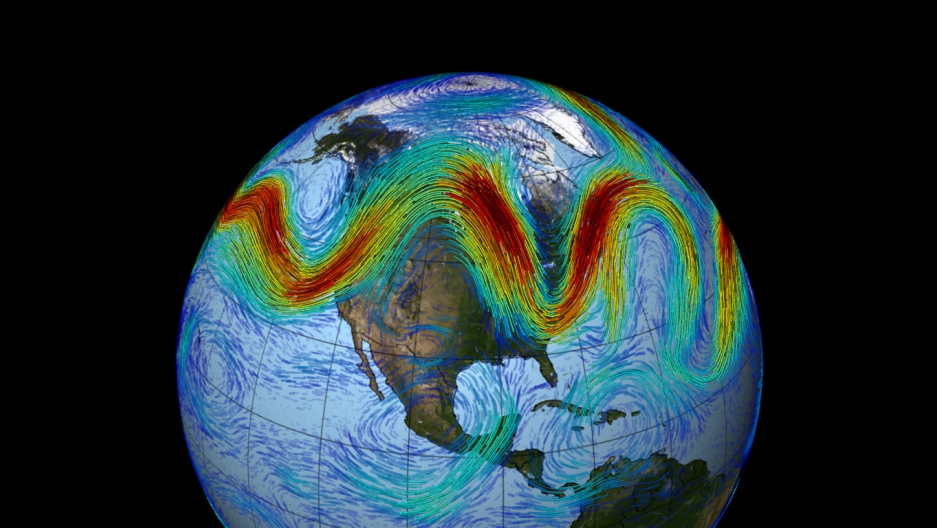 The polar jet stream carries weather around the Northern Hemisphere. Climate researcher Jenifer Francis believes the rapidly warming Arctic is slowing and warping the jet stream, allowing Arctic air to spill farther south in some places.