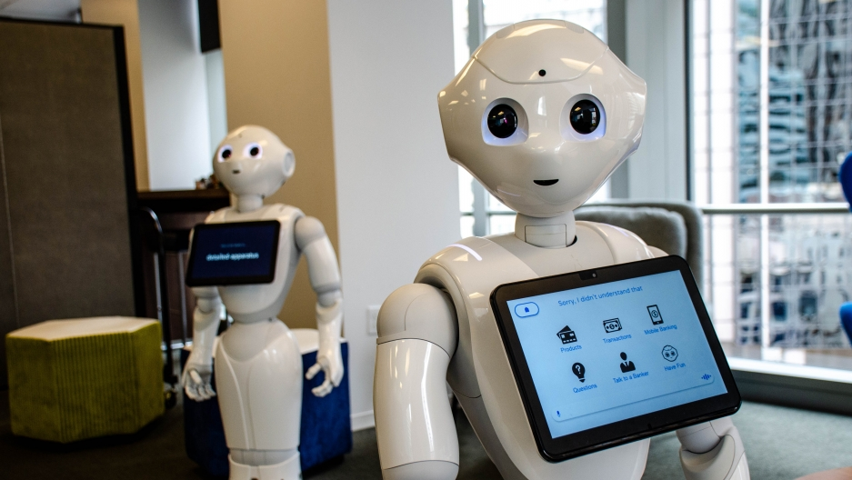 "About 15,000 robots named ""Pepper"" are used in Japanese and European banks, fast service restaurants, and healthcare settings. Pepper is now in US bank branches too — HSBC has them in select locations to help answer basic customer questions."