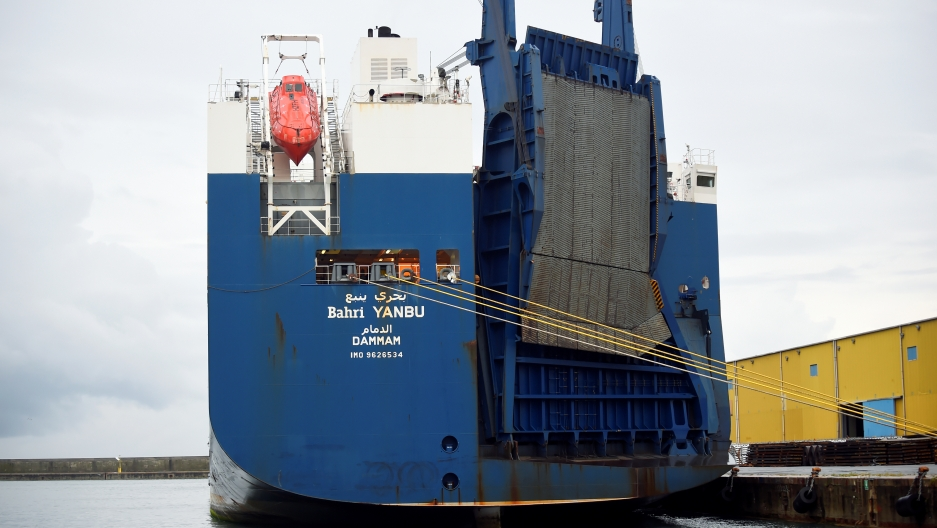 Saudi cargo ship Bahri Yanbu, that was prevented by French rights group ACAT from loading a weapons cargo at the French port of Le Havre due to concerns they might be used against civilians in Yemen, is seen at the Port of Genoa, Italy May 20, 2019.