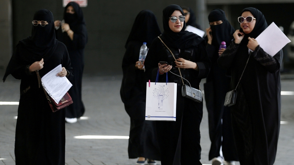 Saudi women gather at a job fair in Riyadh.