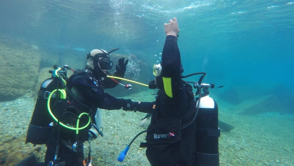 people underwater in scuba gear