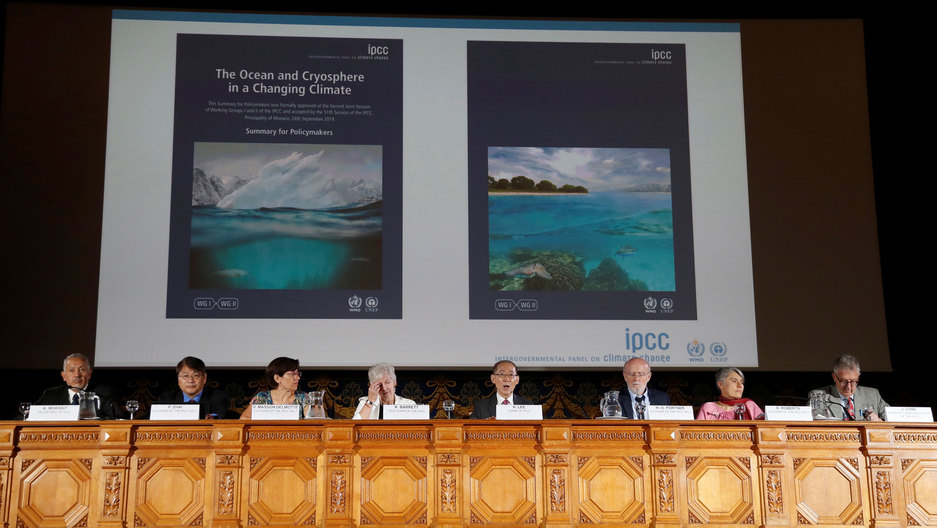 Chair of IPCC Hoesung Lee presents Monaco's Prince Albert II with the special report on the Ocean and Cryosphere in a Changing Climate Context at UN in New York.