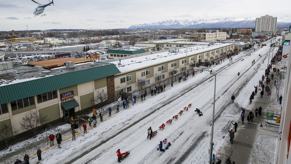 A cityscape of Anchorage, Alaska with dog-sled racers and mountains