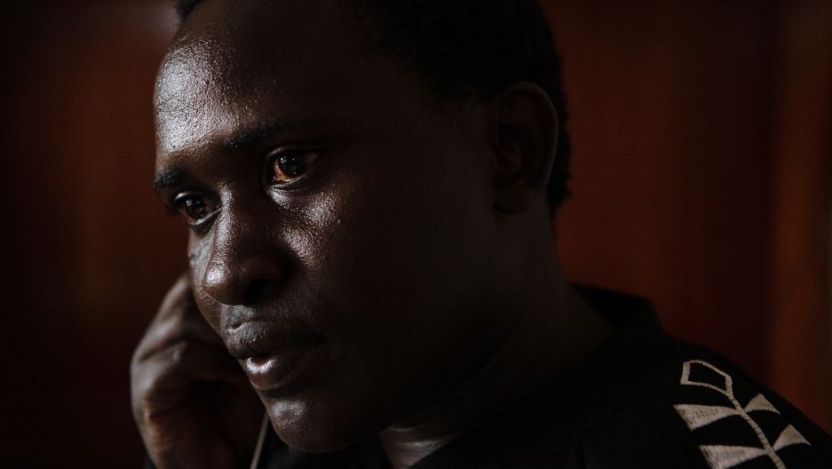 Up close image of Kenyan man wearing black sweatshirt