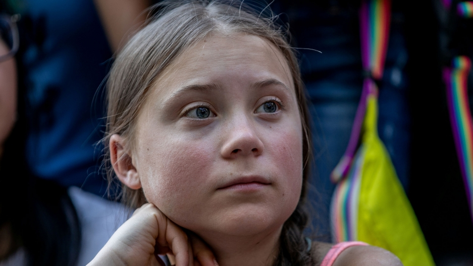 Swedish activist Greta Thunberg participates in a youth climate change protest in front of the United Nations Headquarters in Manhattan, New York City, New York, US, on Aug. 30, 2019.