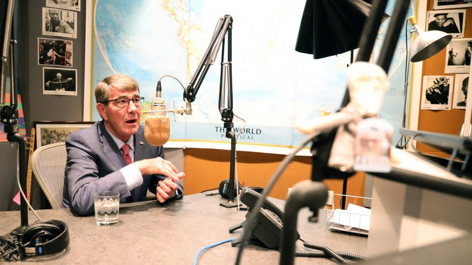 Ash Carter sits in the WGBH studios in boston