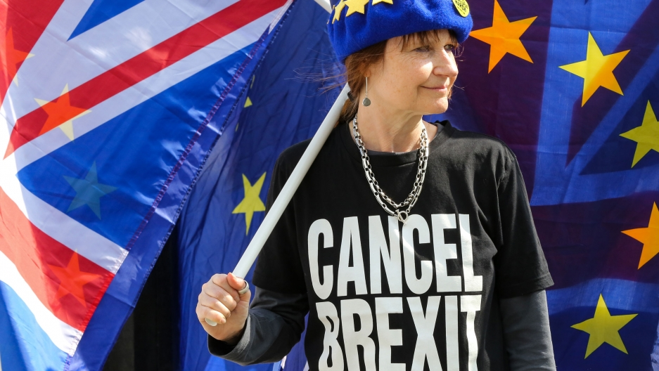 "An anti-Brexit demonstrator is seen wearing an EU flag cap and a t-shirt with ""Cancel Brexit"" protesting outside the Houses of Parliament."