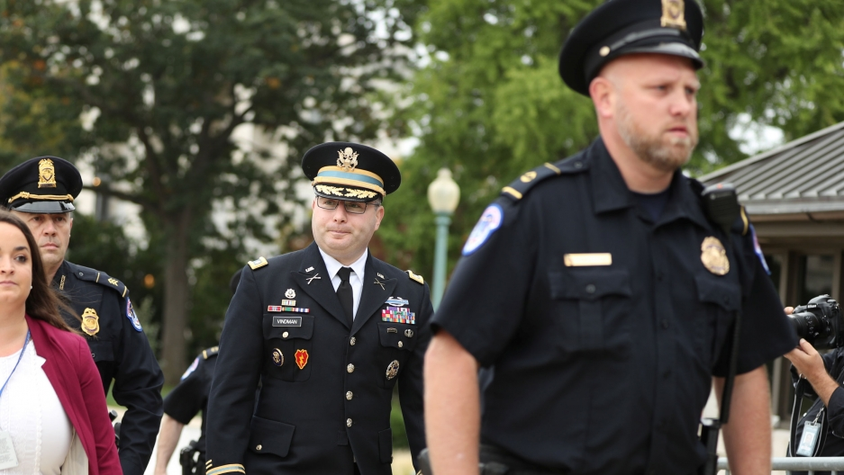 Lt. Col. Alexander Vindman is shown in a dress military suit and wearing glasses.