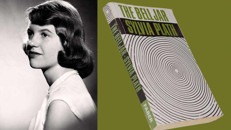 "Studio photograph of Sylvia Plath (with brown hair) by Warren Kay Vantine, 1954 and the first printing of ""The Bell Jar,"" 1966."