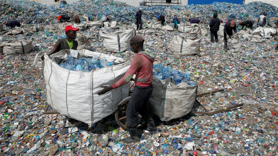 People move large containers full of sorted plastic bottles over a mound of other bottles