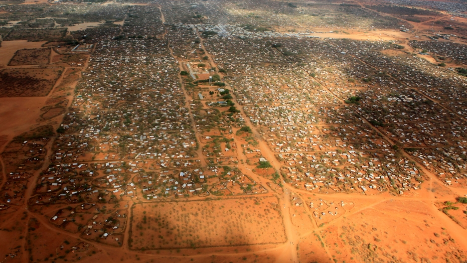 An aerial view shows makeshift shelters at the Dagahaley camp in Dadaab, near the Kenya-Somalia border in Garissa County, Kenya, on April 3, 2011.