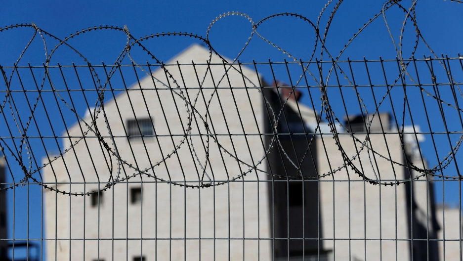 A fence is seen at the Jewish settlement of Kiryat Arba in Hebron, in the Israeli-occupied West Bank.