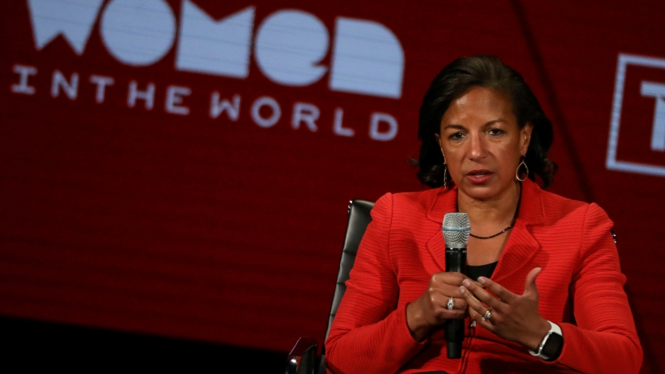 Former National Security Advisor and USSAmbassador to UN Susan Rice, speaks on stage at the Women In The World Summit in New York on April 11, 2019.