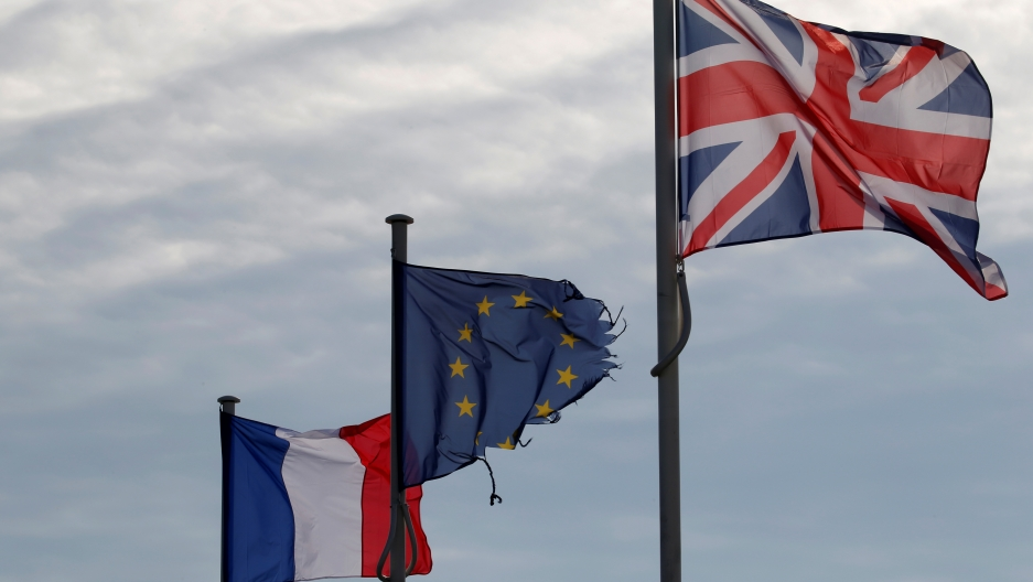 The French, European Union, and British Flags.