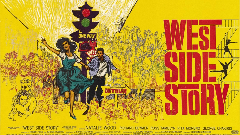 "A 1961 movie poster for ""West Side Story."""