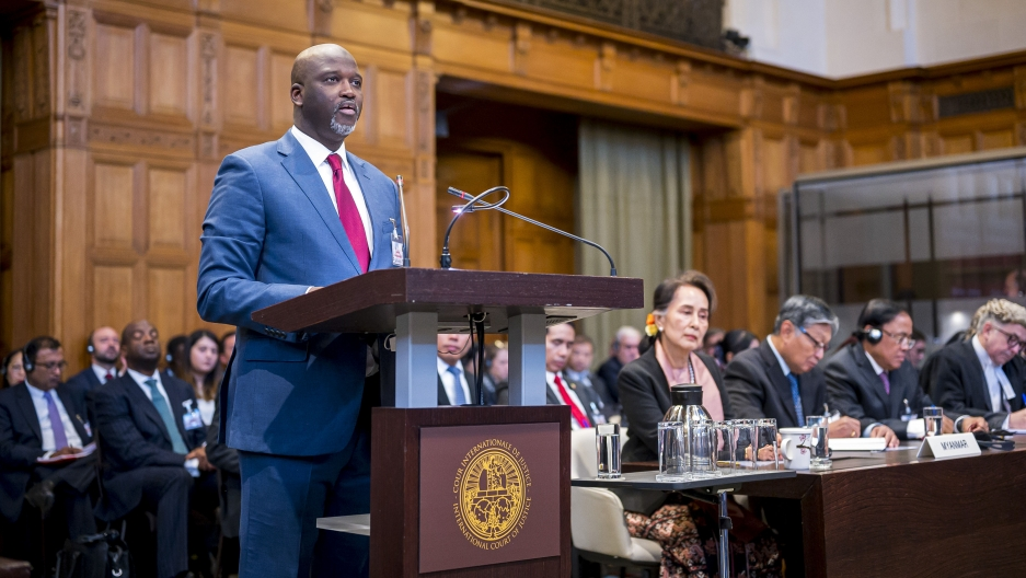 Gambia's Justice Minister Abubacarr Tambadou speaks on the first day of hearings in a case against Myanmar alleging genocide against the minority Muslim Rohingya population at the International Court of Justice in The Hague, Netherlands.