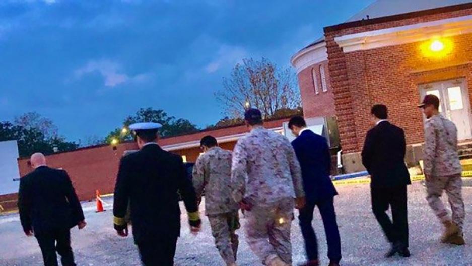 Saudi Arabia Defense Attache arrives to meet with Saudi students at the Naval Air Stationin Pensacola, Florida