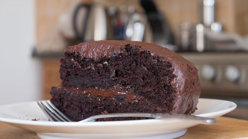A moist chocolate cake.