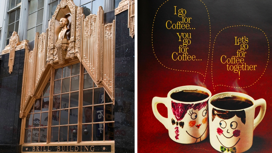 "The Brill Building and a ""Mugmates"" advertisement."