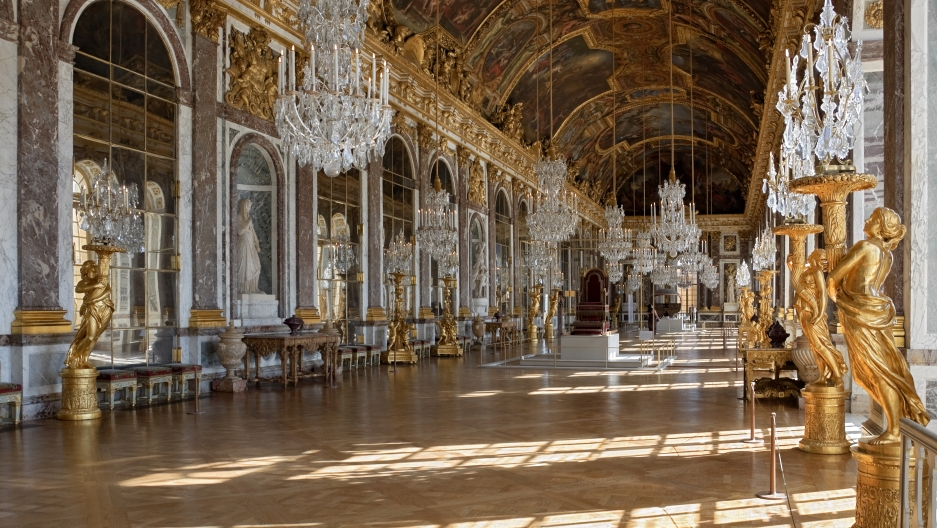 The Hall of Mirrors in the Palace of Versailles.